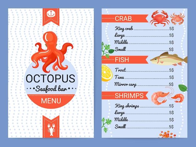 Meeresfrüchte-barmenü-flaches plakat