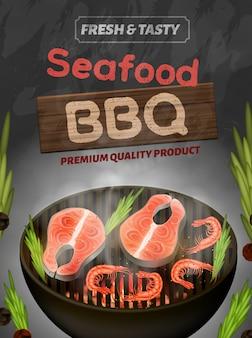 Meeresfrüchte bbq banner, frische und leckere produkt flyer