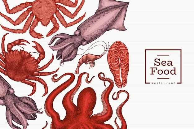 Meeresfrüchte design. hand gezeichnete meeresfrüchteillustration. graviertes essen. retro meerestiere hintergrund