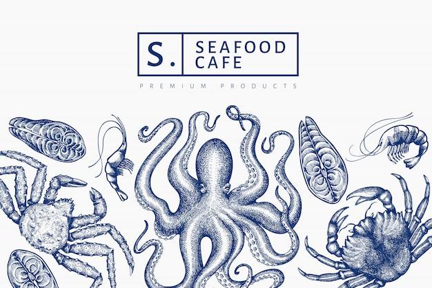 Meeresfrüchte design. hand gezeichnete meeresfrüchteillustration. lebensmittelbanner im gravierten stil. retro meerestiere hintergrund