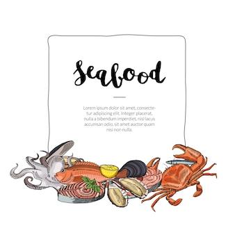 Meeresfrüchte-elemente unter dem rahmen gesammelt
