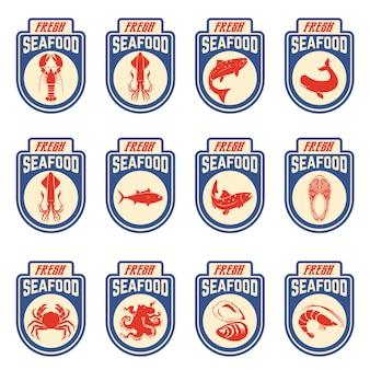 Meeresfrüchte-etiketten gesetzt