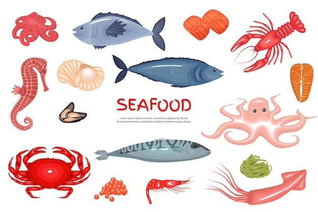Meeresfrüchte-ikonen eingestellt