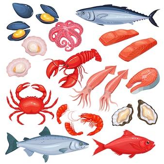 Meeresfrüchte im cartoon-stil.