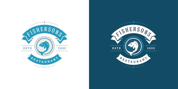 Meeresfrüchte-logo oder zeichenvektorillustration fischmarkt und restaurantemblemschablonenentwurfsfisch mit helm