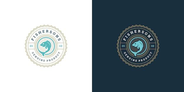 Meeresfrüchte-logo oder zeichenvektorillustrationsfischmarkt