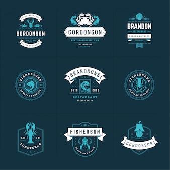Meeresfrüchte-logos oder -schilder legen die vorlagen für den fischmarkt und das restaurant fest