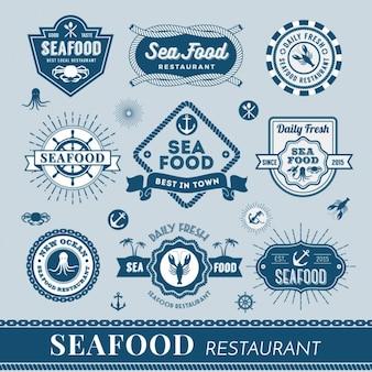 Meeresfrüchte logos sammlung