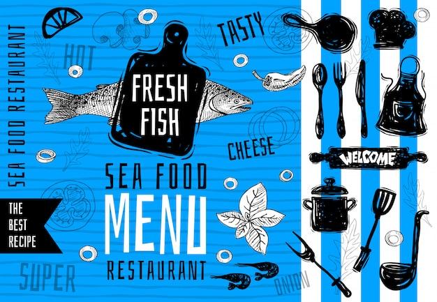 Meeresfrüchte-menü logo-design, schneidebrett, suppe, topf, gabel, messer, vintage seefisch lachs lebensmittel menü schriftzug stempel design. die besten rezepte. handgemalt.