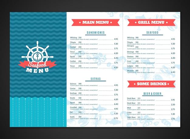 Meeresfrüchte-menü-vorlage