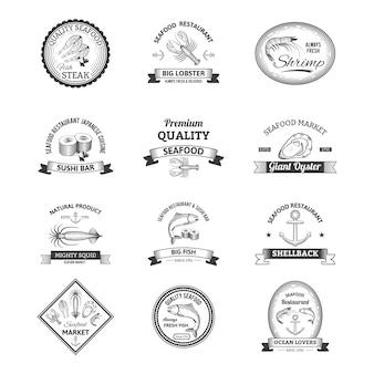 Meeresfrüchte-retro-embleme