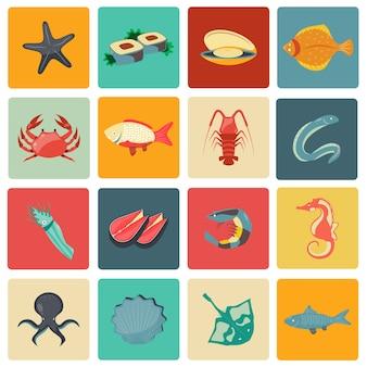 Meeresfrüchte-symbole legen sie flach