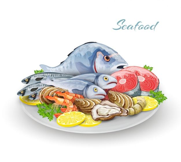 Meeresfrüchte teller zusammensetzung