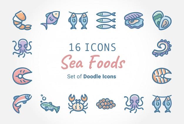 Meeresfrüchte-vektor-fahnen-ikonen-design