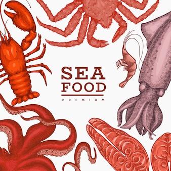 Meeresfrüchte vorlage. hand gezeichnete meeresfrüchteillustration. lebensmittelbanner im gravierten stil. retro meerestiere hintergrund