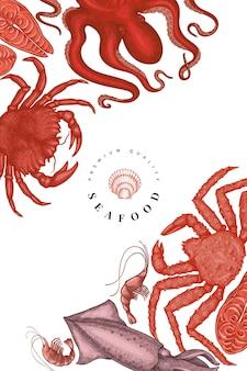 Meeresfrüchte-vorlage. hand gezeichnete meeresfrüchteillustration. lebensmittelbanner im gravierten stil. vintage meerestiere hintergrund