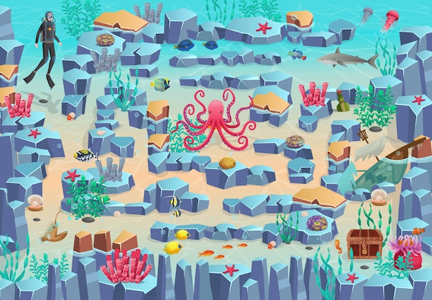 Meereslabyrinthspiel für kinder. helfen sie dem taucher, zur brust zu schwimmen und vermeiden sie seeteufel, hai und tintenfisch.