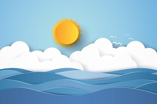 Meereslandschaft, blaues meer mit vogelschwarm, wolke und sonne, papierkunststil