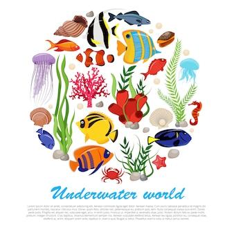 Meereslebenstierpflanzenplakat mit isoliertem satz kombiniert in der großen runden und unterwasserweltbeschreibung