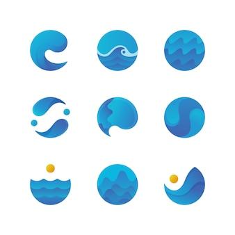 Meeresoberfläche, meereswellen-logos. isolierte vektor festgelegt