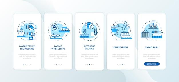 Meerestechnik onboarding mobiler app-seitenbildschirm mit festgelegten konzepten. logistik- und wassertransport-anleitung in 5 schritten mit grafischen anweisungen. ui-vektorvorlage mit rgb-farbabbildungen