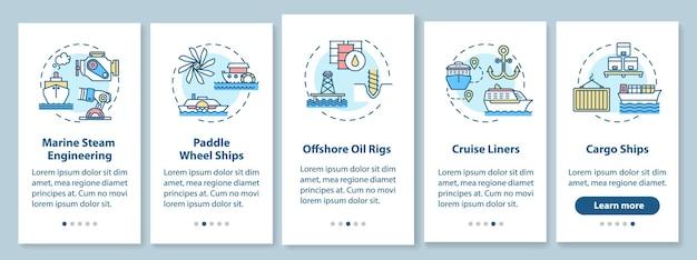 Meerestechnik onboarding mobiler app-seitenbildschirm mit konzepten. offshore-ölplattform. exemplarische vorgehensweise für wasserfahrzeugtypen in 5 schritten mit grafischen anweisungen. ui-vektorvorlage mit rgb-farbabbildungen