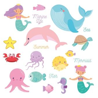 Meerestiere mit meerjungfrauen-cartoon eingestellt