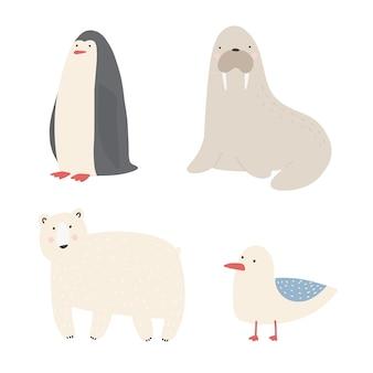 Meerestiere und tiere stellten walross, pinguin, eisbär, möwenkarikaturvektorillustrationen ein.