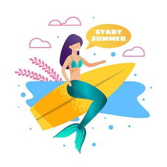 Meerjungfrau auf surfbrett-metapher-werbebanner
