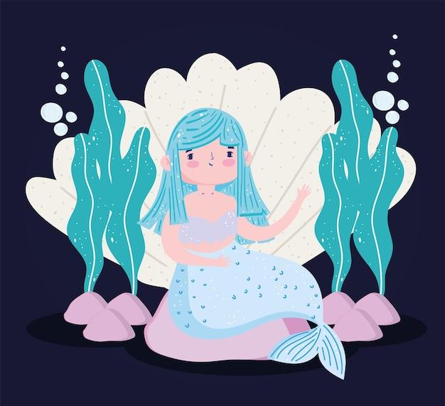 Meerjungfrau blaue haarmuschel und seetang, karikaturillustration