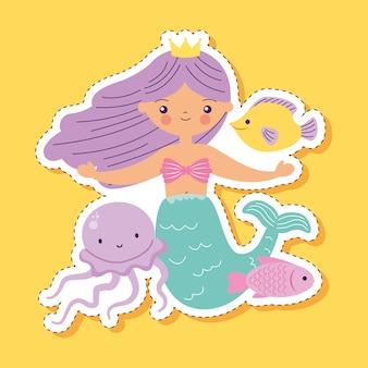 Meerjungfrau-cartoon mit quallen und fischen