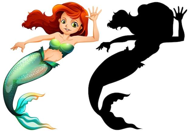Meerjungfrau charaktere und seine silhouette auf weißem hintergrund