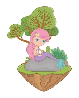 Meerjungfrau der märchendesign-vektorillustration