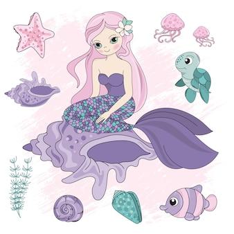 Meerjungfrau der unterwasserwelt der königin