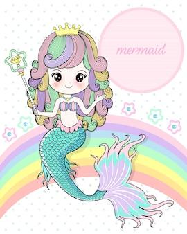 Meerjungfrau, die einen magischen stab hält