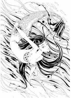 Meerjungfrau. die geschichte ist ein mythos. unterwasserwelt.