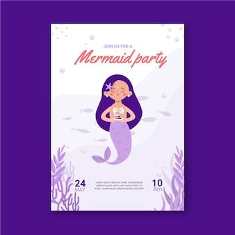Meerjungfrau geburtstagseinladungsschablone