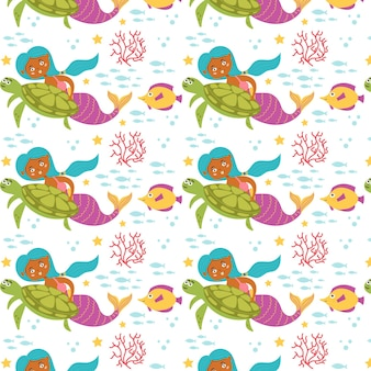 Meerjungfrau meeresmuster schildkrötenfisch