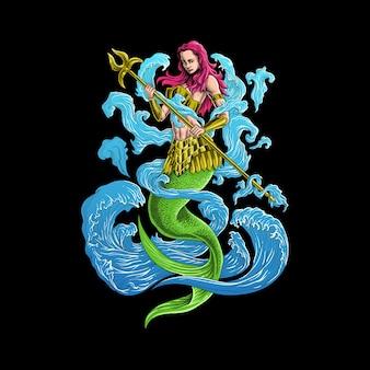 Meerjungfrau mit einer speerillustration