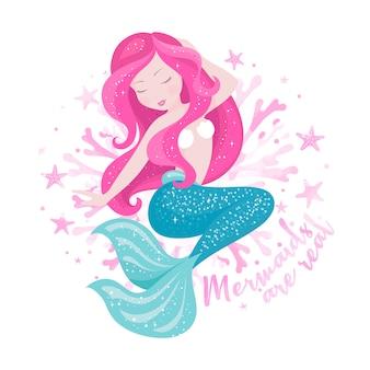 Meerjungfrau mit korallen. modeillustrationszeichnung im modernen stil. nette meerjungfrau. mädchen drucken. meerjungfrauen sind echter text.