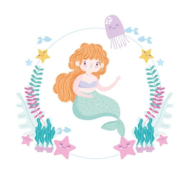Meerjungfrau mit niedlichen seesternen, quallen, seetang und fischillustration