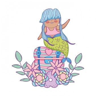 Meerjungfrau mit schatztruhe und blumen