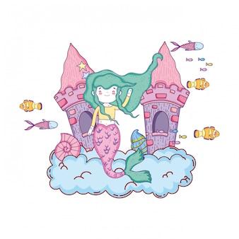 Meerjungfrau mit schlossunterwasser-szene