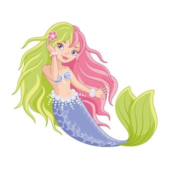 Meerjungfrau mit zweifarbigem haar auf weißem hintergrund