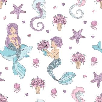 Meerjungfrau muster hochzeit nahtlose muster vektor-illustration