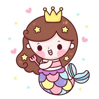 Meerjungfrau prinzessin cartoon bürstenhaar unter verwendung der gabel kawaii illustration