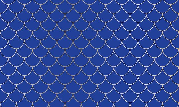 Meerjungfrau schuppen. fisch squama. kawaii-muster. blauer hintergrund. meerjungfrau muster. farbabbildung. skalendruck.