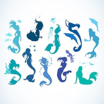 Meerjungfrau silhoutte sammlung