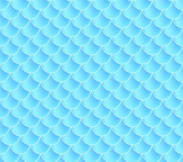 Meerjungfrau skalen. fisch squama. blaues nahtloses muster