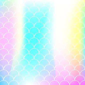 Meerjungfrau skaliert hintergrund mit holographischem farbverlauf. helle farbübergänge